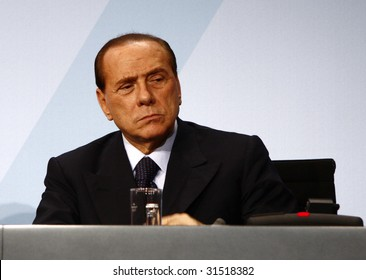 BERLIN, FEBRUARY 22: Italian Prime Minister Silvio Berlusconi at the G20 Preporatory Summit in Berlin on February 22, 2009