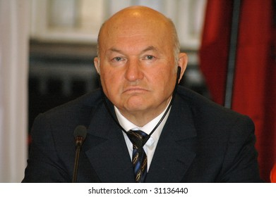 BERLIN - FEBRUARY 22 : The Mayor of Moscow, Juri M. Luschkow, looks into the camera while attending an international conference of the mayors of big cities February 22, 2006 in Berlin.