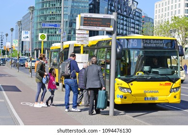 Berlin, Federal Republic of Germany - April 27, 2018: The city bus of Berlin at the bus stop.