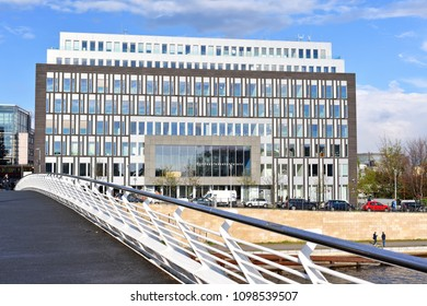 Berlin, Federal Republic of Germany - April 27, 2018: View of the Federal Press Conference e.V. from the bridge over the river Spree.