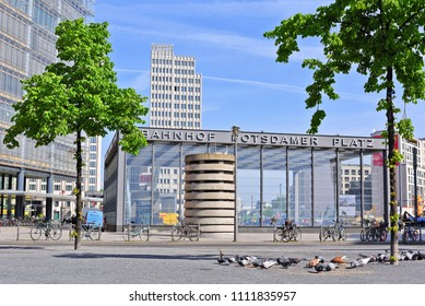 Berlin, Federal Republic of Germany - April 27, 2018: Fragment of the square Potsdamer Platz overlooking the entrance to the Potsdamer Platz station.
