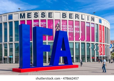 Berlin, Gemany- September 3.,2016., Sign at the entrance to the IFA -the largest annual consumer electronics exhibition in Europe. IFA is the main meeting place for key retailers, buyers and experts.