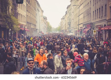 BERLIN, GERMANY - 01 MAY 2017: May Day in Kreuzberg in the street fairs and demonstrations organized by leftist and extreme-left groups in Berlin's borough Kreuzberg