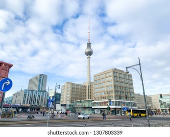 Berlin (Germany) - 02-08-2019, buildings in Berlin-Mitte with the Television tower  and Alexanderplatz in warm winter weather