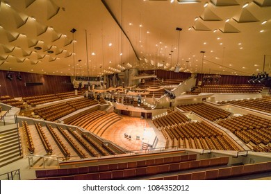BERLIN GERMANY - 04 03 18: Main hall of Berliner Philharmonie is a concert hall in Berlin, Germany. Home to the Berlin Philharmonic Orchestra, the building is acclaimed for its architecture.