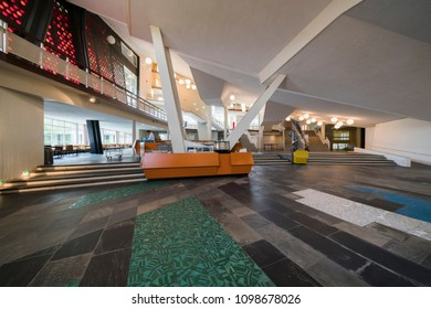BERLIN GERMANY - 04 03 18: Entrance hall of Berliner Philharmonie is a concert hall in Berlin, Germany. Home to the Berlin Philharmonic Orchestra, the building is acclaimed for its architecture.