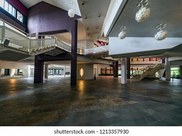 BERLIN GERMANY - 04 03 18: Entrance hall of Berliner Philharmonie is a concert hall in Berlin, Germany. Home to the Berlin Philharmonic Orchestra, the building is acclaimed for its architecture.,