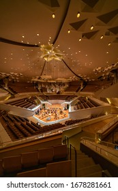BERLIN GERMANY - 04 03 18: Small hall of Berliner Philharmonie is a concert hall in Berlin, Germany. Home to the Berlin Philharmonic Orchestra, the building is acclaimed for its architecture.