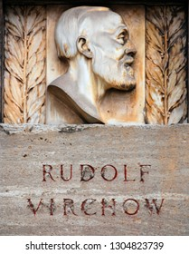 BERLIN GERMANY 05 22 10: Rudolf Virchow Monument is an outdoor monument to Rudolf Virchow which was a pathologist, archaelogist, politician and public-health reforme