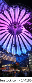 Berlin, Germany - 05 25 2012: The Sony Center at the Potsdamer Platz in Berlin, designed by Helmut Jahn. Vertical panorama at night