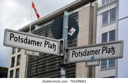 BERLIN GERMANY 07 23 17:  Potsdamer Platz Street Sign  is an important public square and traffic intersection in the centre of Berlin