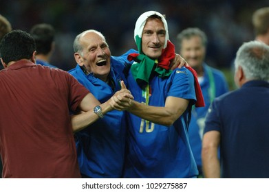 Berlin Germany, 07/09/2006: FIFA World Cup Germany 2006, Italy-France Final at the Olympiastadion, Francesco Totti celebrates the conquest of the world cup with Pietro Lombardi,historic store keeper.