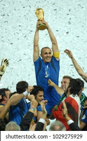 Berlin Germany, 07/09/2006: FIFA World Cup Germany 2006, Italy-France Final at the Olympiastadion, Fabio Cannavaro raises the World Cup during the Awards.