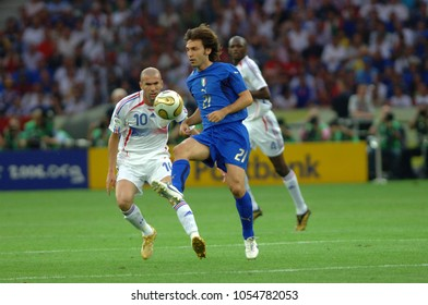 Berlin Germany, 07/09/2006: FIFA World Cup Germany 2006, Italy-France Final Olympiastadion, Andrea Pirlo and Zinedine Zidane in action during the match.