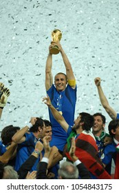 Berlin Germany, 07/09/2006: FIFA World Cup Germany 2006, Italy-France final at the Olympiastadion; Fabio Cannavaro raises the World Cup during the awards ceremony