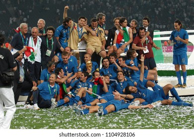 Berlin Germany, 07/09/2006, FIFA World Cup Germany 2006, Italy-France Final Olympiastadion: Italian players with the world cup after the victory
