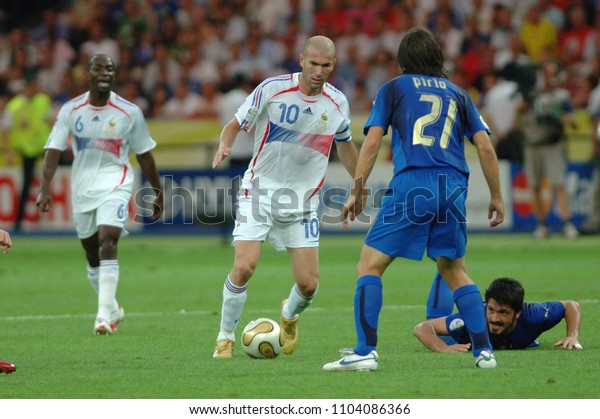 Berlin Germany, 07/09/2006: FIFA World Cup Germany 2006, Italy-France Final Olympiastadion:Zinedine Zidane and Andrea Pirlo in action during the match.