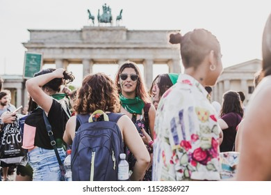 Berlin, Germany - 08. August 2018: green scarf demo for the right to legal abortion in Argentina