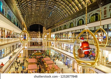 BERLIN, GERMANY - 08 Dec 2018: Mall of Berlin illuminated and decorated for Christmas