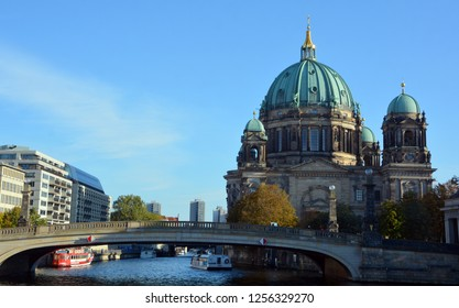 BERLIN GERMANY 09 22 17: Berlin Cathedral (German: Berliner Dom) Is the short name for the Evangelical Supreme Parish and Collegiate Church. It is located on Museum Island in the Mitte borough