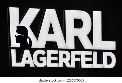 BERLIN GERMANY 09 22 17: Karl Lagerfeld store logo sign in Berlin Germany. Karl Lagerfeld is a world renown luxury fashion label.