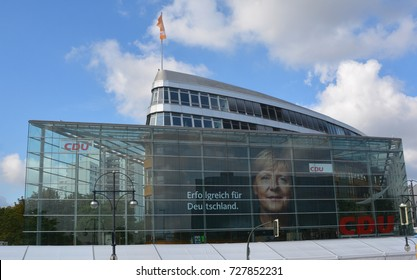 BERLIN GERMANY 09 22 17: CDU building Located on the sixth floor of the Konrad-Adenauer-House, overlooking Berlin, are the offices of the Party Leader, Angela Merkel and her members of staff.