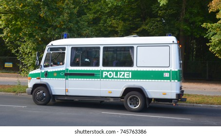 BERLIN GERMANY 09 23 17: Berlin Police car or Berliner Polizei is the German Landespolizei force of Berlin. Law enforcement in Germany is divided between federal and state (Land) agencies.