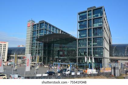 BERLIN GERMANY 09 23 17: Berlin Hauptbahnhof, Berlin Central Station is the main railway station stop on the S-Bahn suburban railway temporarily named Berlin Hauptbahnhof Lehrter Bahnhof.