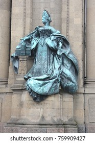 BERLIN GERMANY 09 23 17: Sophie Charlotte statue of Charlottenburger Tor, Sophia Charlotte of Hanover was the first Queen consort in Prussia as wife of King Frederick I.