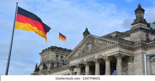 BERLIN GERMANY 09 24 17: The Reichstag officially Deutscher Bundestag  Plenarbereich Reichstagsgebaude is a historic edifice in Berlin constructed to house the Imperial Diet of the German Empire.