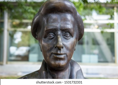 Berlin, Germany 09/10/2019 Detail of statue of revolutionary socialist Rosa Luxemburg by Rolf Biebl stands in headquarters of the Rosa Luxemburg Foundation in the publishing building Neues Deutschland