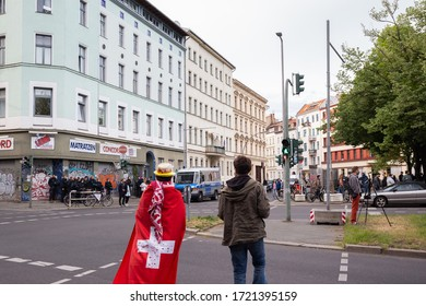 Berlin, Germany - 1 May 2020: 1st May Demonstrations on the streets of Berlin