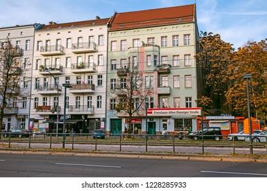 BERLIN, GERMANY - 10 November 2018: Danziger street in Prenzlauer Berg neighborhood