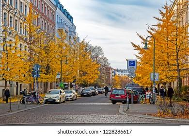 BERLIN, GERMANY - 10 November 2018: Knaack street in Prenzlauer Berg neighborhood in autumn