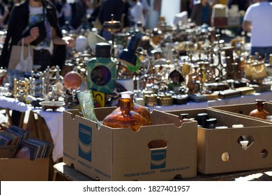 Berlin, Germany 10/4/2020 The most famous flea market in Germany, Mauer park outdoor flea market on Sundays. Full of locals and tourists bargain and treasure hunting.