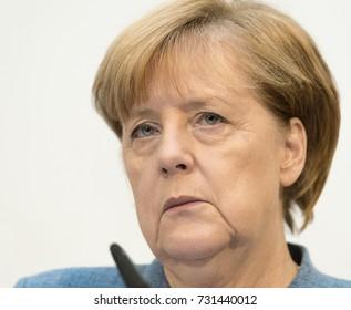 "BERLIN, Germany, 10-9-2017: German Chancellor Angela Merkel at the press conference in the ""Konrad-Adenauer-Haus"", Berlin"