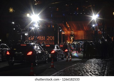 Berlin / Germany - 11 16 2018: Bambi awards, mecedes cars, crowd at night.