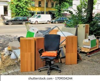 berlin, germany - 11.06.2018 - bulky waste on street