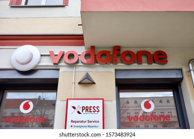 Berlin, Germany 11/28/2019 The Vodafone store front in Warschauer strasse in Berlin Friedrichshain neighbourhood. Vodafone is one of Germany's biggest internet and cellphone providers.