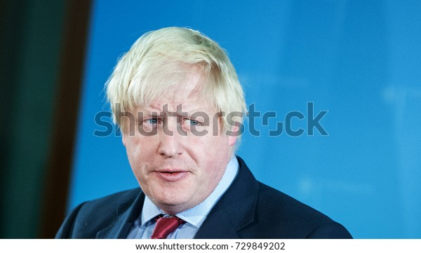 Berlin, Germany, 11-4-2017: Boris Johnson, Secretary of State for Foreign and Commonwealth Affairs, at the Foreign Ministry in Berlin