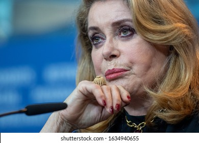"""BERLIN, GERMANY: 12 February 2019: Actress Catherine Deneuve attends the """"Farewell To The Night"""" (L'adieu a la nuit) press conference during the 69th Berlinale International Film Festival"""