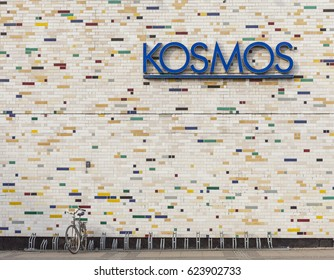 Berlin, Germany - 12 March 2011: Mid-century modern facade of Kosmos meeting hall and performance space on Karl Marx Allee