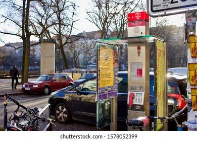Berlin, Germany 12/3/2019 T mobile pay phone and wifi hotspot in Boxhagener platz in Friedrichshain