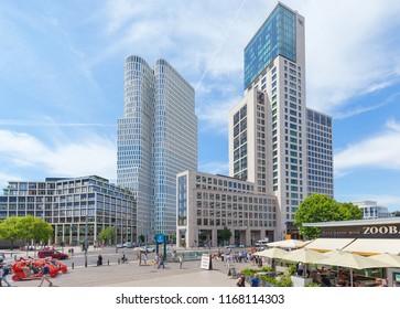 """Berlin, Germany - 15 August 2018: Skyscpaper buildings """"Upper West"""" and """"Zoofenster"""" (Zoo Window) at Kurfuerstendamm in Berlin, Germany"""