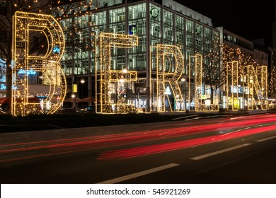 Berlin, Germany - 15 december, 2016:  Illuminated letters of the word Berlin at night on Christmas market in Berlin.