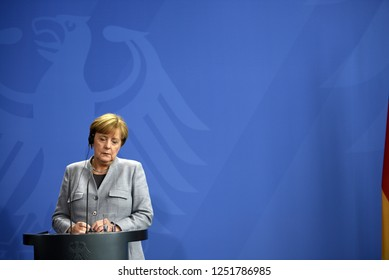 Berlin, Germany - 15 September 2017: German Chancellor Angela Merkel during a press conference at the Federal Chancellery