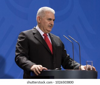 Berlin, Germany. 15th February, 2018.  Turkish Prime Minister Binali Yildirim at the German Chancellery (press conference )