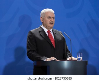 Berlin, Germany. 15th February, 2018.  Turkish Prime Minister Binali Yildirim at the German Chancellery ( press conference )