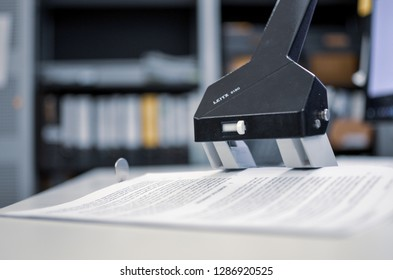 Berlin, Germany - 16.01.2019: Hole Puncher on a desk