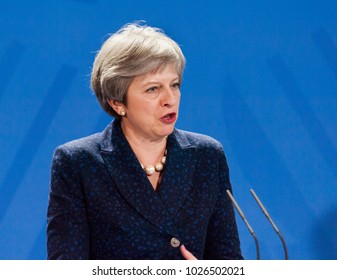 Berlin, Germany. 16th February, 2018: Theresa May at the german chancellery  (press conference) answering a question